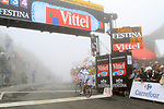 Matthieu Ladagnous (FRA) Française des Jeux crosses the summit finish of the Col du Tourmalet during a wet foggy Stage 17 of the 2010 Tour de France running 174km from Pau to Col du Tourmalet, France. 22nd July 2010.<br /> (Photo by Eoin Clarke/NEWSFILE).<br /> All photos usage must carry mandatory copyright credit (© NEWSFILE | Eoin Clarke)
