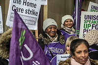 UNISON members working as home carers for Birmingham Council go on strike against changes to their employment terms and for better pay. Birmingham City Centre. 20-1-18