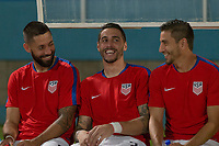 Couva, Trinidad & Tobago - Tuesday Oct. 10, 2017:  Clint Dempsey and Geoff Cameron and Alejandro Bedoya during a 2018 FIFA World Cup Qualifier between the men's national teams of the United States (USA) and Trinidad & Tobago (TRI) at Ato Boldon Stadium.