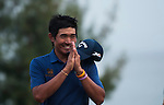 Pavit Tangkamolprasert of Thailand celebrates after winning the Venetian Macao Open 2016 at the Macau Golf and Country Club on 16 October 2016 in Macau, China. Photo by Marcio Machado / Power Sport Images