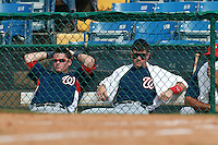 Washington Nationals minor league outfielder Bryce Harper (34 - towel) and Roberto Perez (left) in the dugout during a game vs. the Chinese National Team in an Instructional League game at Holman Stadium in Vero Beach, Florida September 30, 2010.   Harper was selected in the first round, 1st overall, of the 2010 MLB Draft out of Southern Nevada Junior College.  Photo By Mike Janes/Four Seam Images
