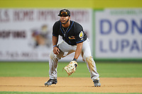 Akron RubberDucks first baseman Bobby Bradley (44) during a game against the Binghamton Rumble Ponies on May 12, 2017 at NYSEG Stadium in Binghamton, New York.  Akron defeated Binghamton 5-1.  (Mike Janes/Four Seam Images)