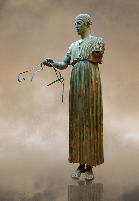 """""""Charioteer of Delphi"""" 470 BC. The """"Charioteer of Delphi"""" is one of the best known ancient Greek statues, and one of the best preserved examples of classical bronze casts. It is considered a fine example of the """"Severe"""" style. Delphi Archaeological Museum."""