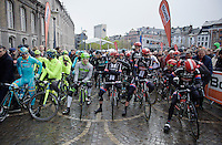 riders at the start duffled in for what's to come<br /> <br /> 102nd Liège-Bastogne-Liège 2016