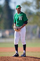 Wooster Fighting Scots starting pitcher Nanak Saran (26) gets ready to deliver a pitch during a game against the Haverford Fords on March 17, 2018 at Terry Park in Fort Myers, Florida.  Haverford defeated Wooster 1-0. (Mike Janes/Four Seam Images)