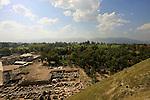 Israel, Beth Shean valley. A view of the ruins of Scythopolis and modern Beth Shean from Tel Beth Shean