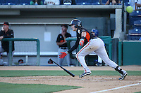 Ryder Jones (9) of the San Jose Giants bats during a game against the Rancho Cucamonga Quakes at LoanMart Field on August 30, 2015 in Rancho Cucamonga, California. Rancho Cucamonga defeated San Jose, 8-3. (Larry Goren/Four Seam Images)