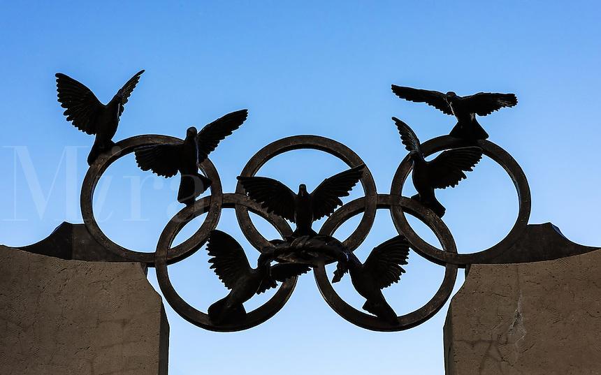 The Olympic Rings with peace doves, Atlanta, Georgia, USA