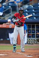 Jesus Sanchez (7) of the Jacksonville Jumbo Shrimp at bat against the Durham Bulls at Durham Bulls Athletic Park on May 15, 2021 in Durham, North Carolina. (Brian Westerholt/Four Seam Images)