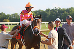 July 11, 2015: Calamity Kate, Edgar Prado up, wins the Grade III Delaware Oaks, one and one sixteenth miles for 3 year old fillies at Delaware Park in Stanton DE. Trainer is Kelly Breen (in white hat); owners are George and Lori Hall. Joan Fairman Kanes/ESW/CSM