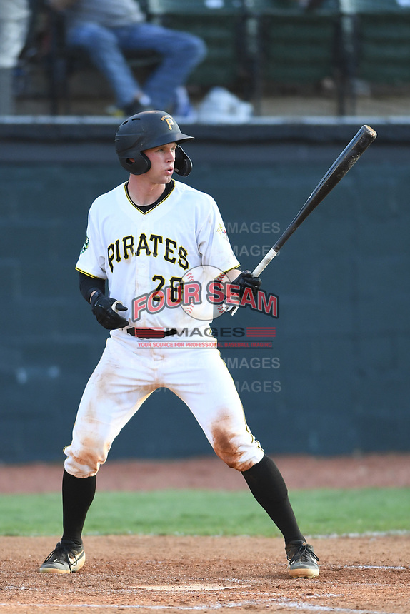 Bristol Pirates Eli Wilson (28) bats against the Pulaski Yankees at Boyce Cox Field on July 8, 2019 in Bristol, Virginia. The Yankees defeated the Pirates 5-0. (Tracy Proffitt/Four Seam Images)