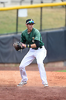 Clinton LumberKings shortstop Luis Caballero (10) checks the runner during a game against the Beloit Snappers on August 17, 2014 at Ashford University Field in Clinton, Iowa.  Clinton defeated Beloit 4-3.  (Mike Janes/Four Seam Images)