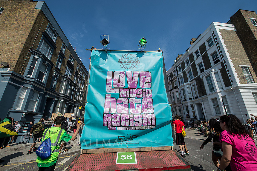 Love Music Hate Racism have a float with a soundsystem and DJ Smokey Joe at the notting Hill Carnival. London 25-8-19