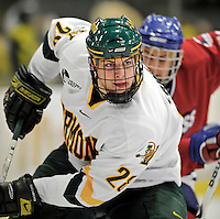 3 February 2008: University of Vermont Catamounts' defenseman Dan Lawson, a Freshman from Oak Forest, IL, in action against the University of Massachusetts Lowell River Hawks at Gutterson Fieldhouse in Burlington, Vermont. The Catamounts defeated the River Hawks 3-2...Mandatory Photo Credit: Ed Wolfstein Photo