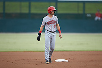 Jackson Cluff (10) of the Hagerstown Suns takes his lead off of second base against the Kannapolis Intimidators at Kannapolis Intimidators Stadium on August 26, 2019 in Kannapolis, North Carolina. The Suns defeated the Intimidators 4-1. (Brian Westerholt/Four Seam Images)
