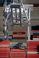 aerial photograph crane Kline containers, Port of Oakland, California