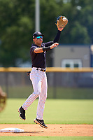 FCL Yankees second baseman Jose Colmenares (12) catches a throw down in between innings during a game against the FCL Blue Jays on June 29, 2021 at the Yankees Minor League Complex in Tampa, Florida.  (Mike Janes/Four Seam Images)