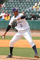 RHP Ronny Marte #35 of the Charleston RiverDogs pitching in a game against the West Virginia Power on April 14, 2010  in Charleston, SC.