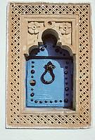 Tunisia, Sidi Bou Said.  Residential Mailbox Representing a Traditional Door.