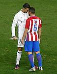 Atletico de Madrid's Koke Resurrecccion (r) and Real Madrid's Cristiano Ronaldo have words during La Liga match. November 19,2016. (ALTERPHOTOS/Acero)