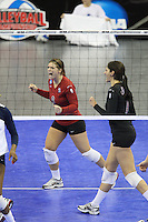Omaha, NE - DECEMBER 20:  Libero Gabi Ailes #9 and outside hitter Cynthia Barboza #1 of the Stanford Cardinal during Stanford's 20-25, 24-26, 23-25 loss against the Penn State Nittany Lions in the 2008 NCAA Division I Women's Volleyball Final Four Championship match on December 20, 2008 at the Qwest Center in Omaha, Nebraska.