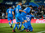 Juan Torres Ruiz, Cala, of Getafe CF celebrates his goal with teammates during the La Liga 2017-18 match between Getafe CF and Malaga CF at Coliseum Alfonso Perez on 12 January 2018 in Getafe, Spain. Photo by Diego Gonzalez / Power Sport Images