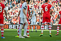 Sun 06 October 2013 Pictured:Jonjo Shelvey looks on as he prepares to take a free kick  Re: Barclays Premier League Southampton FC  v Swansea City FC  at St.Mary's Stadium, Southampton