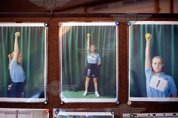 Photographs showing the correct positioning for ball girls at Wimbledon, The All England Lawn Tennis Club (AELTC), London..