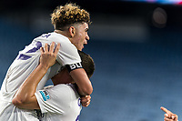 FOXBOROUGH, MA - AUGUST 7: Wilfredo Rivera #62 of Orlando City B celebrates his goal with teammates during a game between Orlando City B and New England Revolution II at Gillette Stadium on August 7, 2020 in Foxborough, Massachusetts.