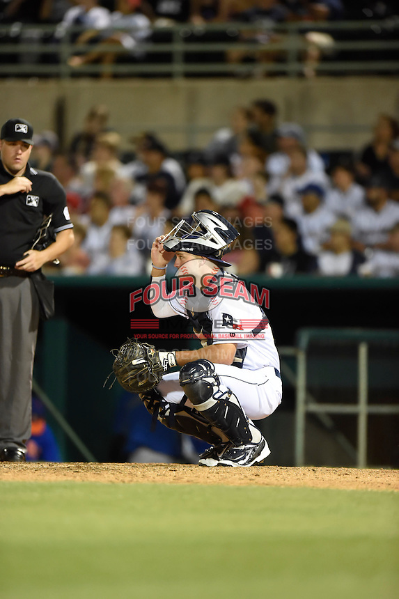 ***Temporary Unedited Reference File***San Antonio Missions catcher Ryan Miller (22) during a game against the Midland RockHounds on April 22, 2016 at Nelson W. Wolff Municipal Stadium in San Antonio, Texas.  San Antonio defeated Midland 8-4.  (Mike Janes/Four Seam Images)