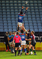 13th February 2021; Twickenham Stoop, London, England; English Premiership Rugby, Harlequins versus Leicester Tigers; Harry Wells of Leicester Tigers leaps high to receive