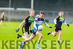 Conor Byrne of  IT Tralee on a run as Conor Doyle of Carlow IT bears down on him, in the Sigerson Cup R1 football game in Austin Stack Park on Sunday.