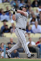 Adam Dunn #32 of the Chicago White Sox bats against the Los Angeles Dodgers at Dodger Stadium on June 15, 2012 in Los Angeles, California. Los Angeles defeated Chicago 7-6. (Larry Goren/Four Seam Images)