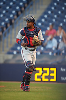 Fort Myers Miracle catcher Brian Navarreto (22) during a game against the Tampa Yankees on April 12, 2017 at George M. Steinbrenner Field in Tampa, Florida.  Tampa defeated Fort Myers 3-2.  (Mike Janes/Four Seam Images)