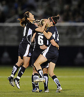 Washington Freedom midfielder Lori Lindsey (6) celebrates her goal with teammates Homare  Sawa (10) and Alex Singer (21). Boston Breakers defeated Washington Freedom 3-1   at The Maryland SoccerPlex, Saturday April 18, 2009.
