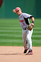 University of Hartford Hawks infielder Dalton Ruch (6) makes a throw to first base prior to a game versus the Boston College Eagles at Pellagrini Diamond at Shea Field on May 9, 2015 in Chestnut Hill, Massachusetts.  (Ken Babbitt/Four Seam Images)