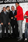 Real Madrid player Raphael Varane (r) and the President Florentino Perez participate and receive new Audi during the presentation of Real Madrid's new cars made by Audi at the Jarama racetrack on November 8, 2012 in Madrid, Spain.(ALTERPHOTOS/Harry S. Stamper)