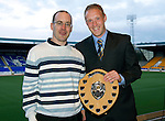 Barossa Street St Johnstone Supporters Club Player of the Year Award to Steven Anderson presented by Gary Munro..Picture by Graeme Hart..Copyright Perthshire Picture Agency.Tel: 01738 623350  Mobile: 07990 594431