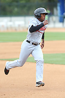 Domingo Leyba (2) of the Visalia Rawhide runs the bases during a game against the Rancho Cucamonga Quakes at LoanMart Field on May 6, 2015 in Rancho Cucamonga, California. Visalia defeated Rancho Cucamonga, 7-2. (Larry Goren/Four Seam Images)