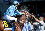 10 July 03: Haynesfield (no. 6), ridden by Ramon Dominguez and trained by Steve Asmussen, wins the 124th running of the grade 2 Suburban Handicap for three year olds and upward at Belmont Park in Elmont, New York.