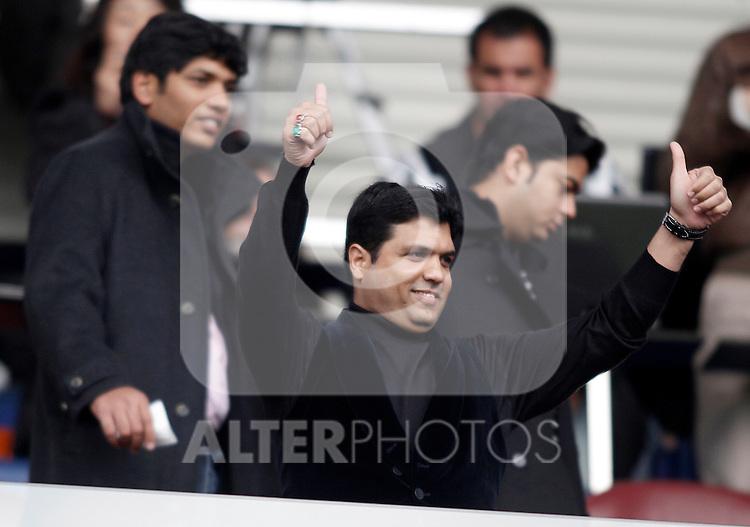 Racing de Santander's owner Ali Syed salutes during La Liga Match. February 20, 2011. (ALTERPHOTOS/Alvaro Hernandez)