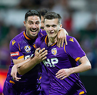 27th March 2021; HBF Park, Perth, Western Australia, Australia; A League Football, Perth Glory versus Newcastle Jets; Bruno Fornaroli Mezza of the Perth Glory celebrates with Cairn Bramwell after he scored in the 17th minute making the score 1-0