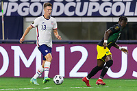 DALLAS, TX - JULY 25: Matthew Hoppe #13 of the United States moves with the ball during a game between Jamaica and USMNT at AT&T Stadium on July 25, 2021 in Dallas, Texas.