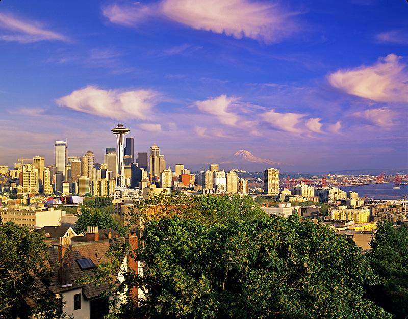 Seattle skyline as seen through sculpture at Kerry Park, Washington