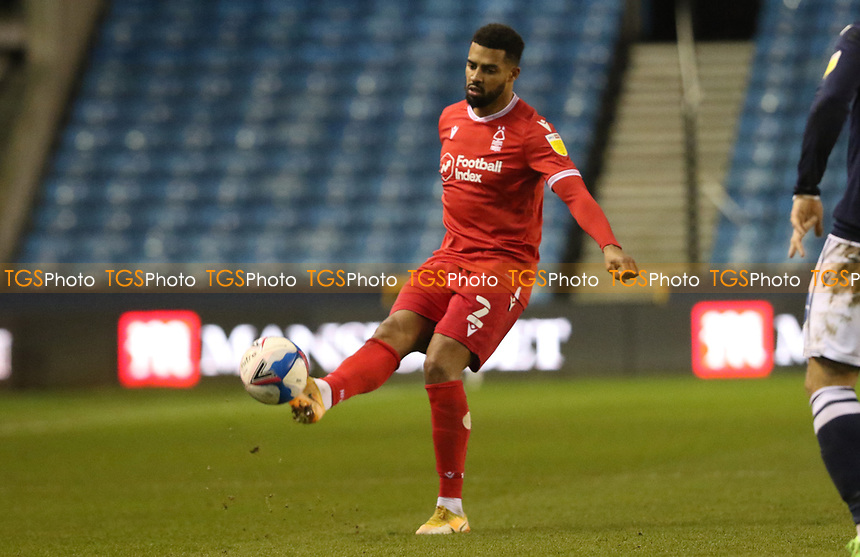 Cyrus Christie of Nottingham Forest during Millwall vs Nottingham Forest, Sky Bet EFL Championship Football at The Den on 19th December 2020