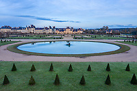 France, Seine et Marne, Fontainebleau, park and Chateau royal de Fontainebleau listed as World Heritage by UNESCO, the Rond d'eau (aerial view) // France, Seine-et-Marne (77), Fontainebleau, parc et château royal de Fontainebleau classés Patrimoine Mondial de l'UNESCO, le Rond d'eau (vue aérienne)
