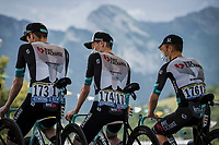 Team BikeExchange at the pre stage team presentation<br /> <br /> Stage 10 from Albertville to Valence (190.7km)<br /> 108th Tour de France 2021 (2.UWT)<br /> <br /> ©kramon