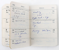 BNPS.co.uk (01202 558833)<br /> Pic: C&TAuctions/BNPS<br /> <br /> Pictured: His 1944 diary kept ahead of the D-Day landings.<br /> <br /> The medals and personal effects of an unsung hero of D-Day have emerged for sale for £6,000.<br /> <br /> Lieutenant Colonel Douglas Bain trialled the amphibious Duplex Drive tanks ahead of the Normandy landings in June 1944.<br /> <br /> He commanded three DD training schools preparing tanks for sea and river assaults, reporting personally to Field Marshal Bernard Montgomery.<br /> <br /> The dangerous trials, which tested the 'waterproofing' of the amphibious armoured vehicles, were carried out off the south coast of England.