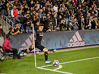 LOS ANGELES, CA - OCTOBER 29: Brian Rodriguez #17 of Los Angeles FC takes a corner kick during a game between Seattle Sounders FC and Los Angeles FC at Banc of California Stadium on October 29, 2019 in Los Angeles, California.