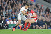 Leigh Halfpenny of Wales and Anthony Watson of England compete during the Guinness Six Nations match between England and Wales at Twickenham Stadium on Saturday 7th March 2020 (Photo by Rob Munro/Stewart Communications)
